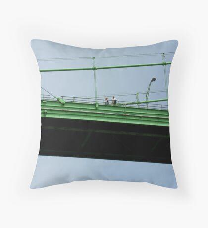 waving from the bridge Throw Pillow