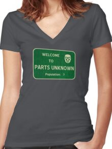 Welcome To Parts Unknown Women's Fitted V-Neck T-Shirt
