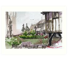 A view from Bear Steps, Shrewsbury Art Print