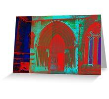 Red and Blue Church Greeting Card