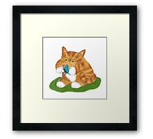kitty has a Butterfly Framed Print