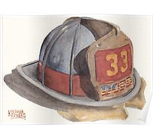 Fire Fighter Helmet with Melted Visor Poster
