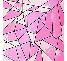 Girly Modern Pink Distressed Geometric Pattern Photographic Print