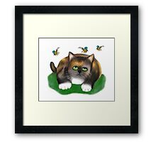 Calico Kitten watches Three Bees Framed Print