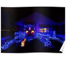 Abstract Christmas Lights - Blue Holidays House Poster