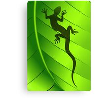 Lizard Gecko Shape on Green Leaf Canvas Print