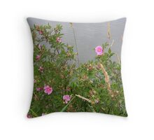 Wild Rose by the Water Throw Pillow