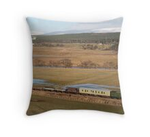 Steam train with wagons  Throw Pillow