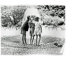 three girls at a fountain Poster