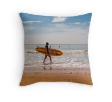 Female Surfer Throw Pillow