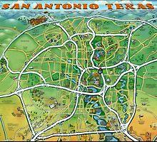 San Antonio Texas Cartoon Map by Kevin Middleton