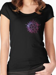 Supernatural Anti-Possession Galaxy Print Women's Fitted Scoop T-Shirt
