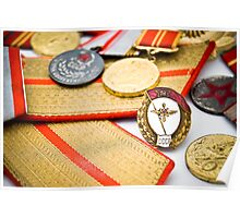USSR army officer medals and badges Poster