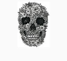 Floral Skull Black and White Unisex T-Shirt