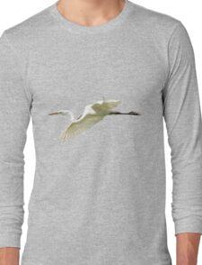 Great White Egret in Flight Long Sleeve T-Shirt