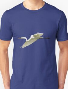 Great White Egret in Flight Unisex T-Shirt