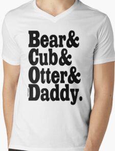 Bear&Cub&Otter&Daddy.Black Mens V-Neck T-Shirt
