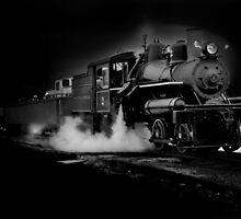 Old steam train along Oregons Hwy 101 by Jeffrey  Sinnock