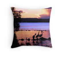 Purple Pelican Trio Sunset Throw Pillow