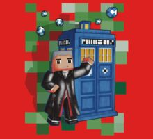 8bit 12th Doctor with blue phone box Kids Clothes