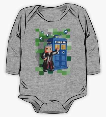 8bit 12th Doctor with blue phone box One Piece - Long Sleeve