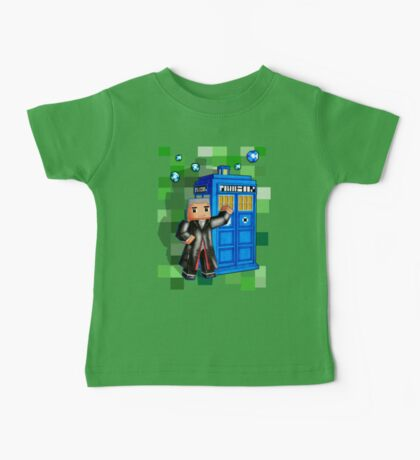 8bit 12th Doctor with blue phone box Baby Tee