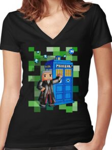 8bit 12th Doctor with blue phone box Women's Fitted V-Neck T-Shirt