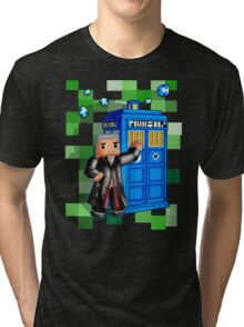 8bit 12th Doctor with blue phone box Tri-blend T-Shirt