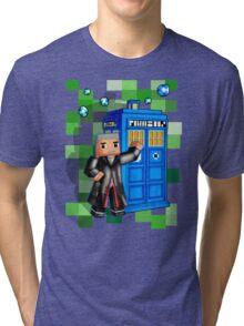 8bit 12th Doctor with blue phone box Tri-blend T-Shirt