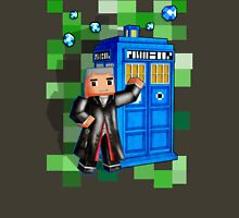 8bit 12th Doctor with blue phone box Unisex T-Shirt