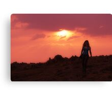 Walking at Sunset Canvas Print