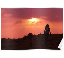 Walking at Sunset Poster