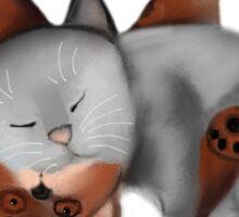 Teddy Bear Pillow for Gray Kitten Sticker