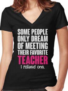 Proud Teacher Mom Women's Fitted V-Neck T-Shirt