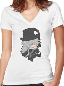 Black Butler Undertaker chibi Women's Fitted V-Neck T-Shirt