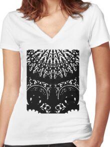 Decorative Black Print Women's Fitted V-Neck T-Shirt