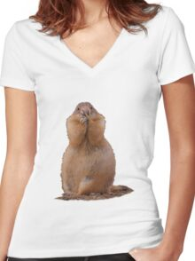 Prairie Dog with Funny Expression Women's Fitted V-Neck T-Shirt