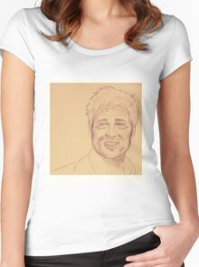Portrait of Brad Pitt Women's Fitted Scoop T-Shirt