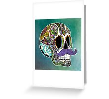 Mustache Sugar Skull (Color Version) Greeting Card