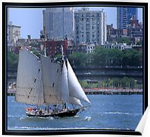 SAILING NEW YORK BRUSHSTROKES Poster