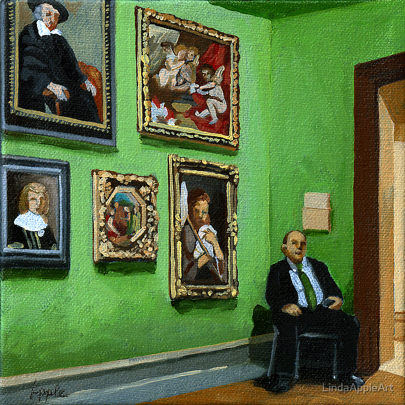 Guarding the Classics - people painting by LindaAppleArt