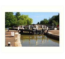 Locks on the canal Art Print