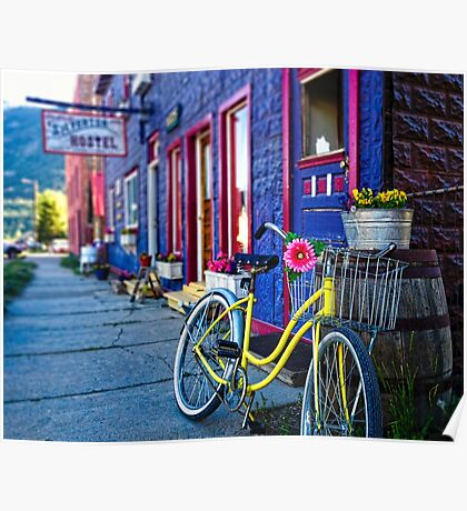 Yellow Bicycle At The Silverton Hostel Poster