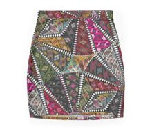 Patchwork Pattern In Pinks, Burgundy and Greens Mini Skirt