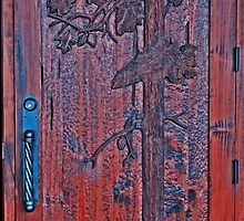Carved Pine Tree Door at the Oregon Gardens by Marylamb