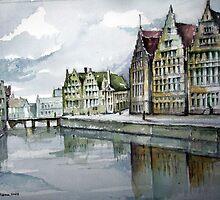 Graslei in Ghent by Marcel Reynaert