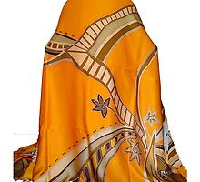 Yellow Hand Painted Silk Satin Batik Fabric by zyhan