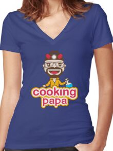 Cooking Papa Women's Fitted V-Neck T-Shirt