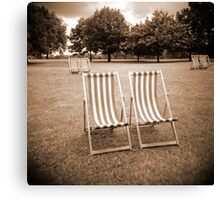 Lonely Deck Chairs Canvas Print