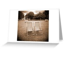 Lonely Deck Chairs Greeting Card